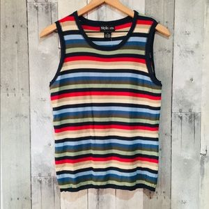 Style & Co. Multi Colored Striped Tank Top